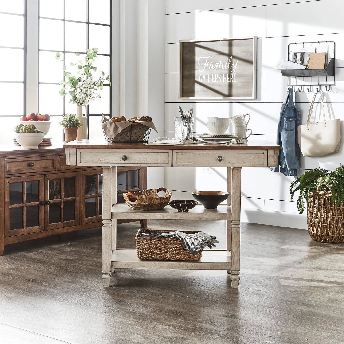 Keyla Antique Two Tone Kitchen Island Keep Your Kitchen Tidy With These 55 Space Saving Furniture Pieces All From Target Popsugar Home Photo 19