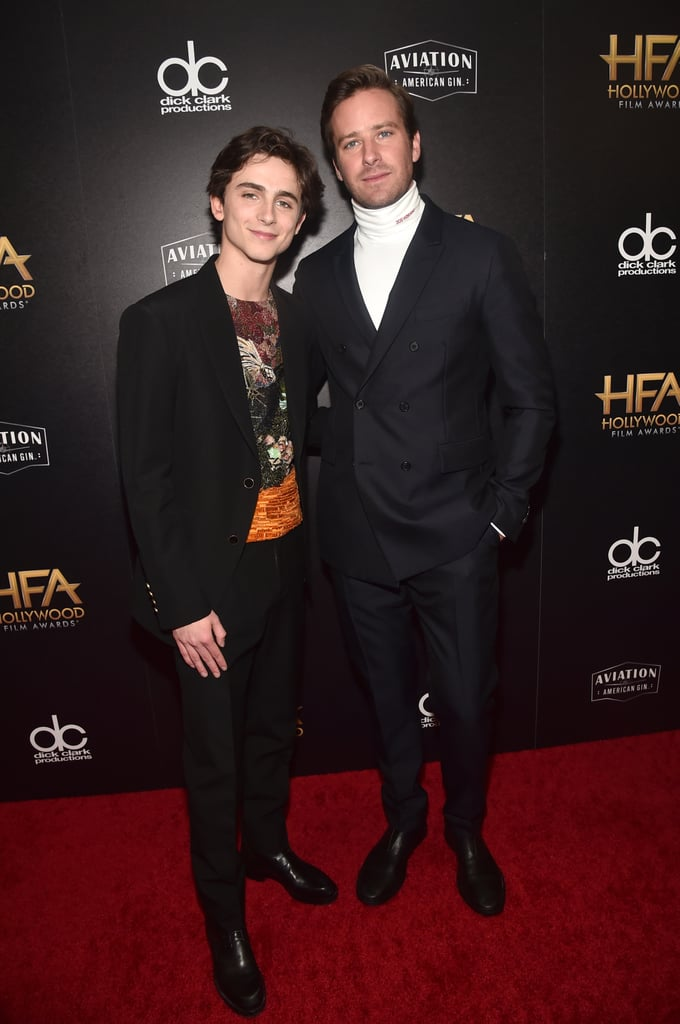 "The boys are back in town! On Sunday night, Call Me by Your Name costars Timothée Chalamet and Armie Hammer reunited at the 22nd Annual Hollywood Film Awards in Beverly Hills, and I'm just going to assume it's the reason I'm smiling ear to ear right now. Armie presented Timothée with an award for his work in the recent film Beautiful Boy, where he commended the 22-year-old actor's portrayal of Nic Sheff and the story of methamphetamine addiction. ""Timothée's portrait as Nic Sheff is an intense and disarming depiction of the hopelessness, despair, and collateral damage of methamphetamine addiction,"" Armie said in his introduction. ""As Nic's experimentation with drugs leads to an uncontrollable dependence, his devastated father tries to cope with what has happened and what is happening to his son . . . It's my pleasure to present the award for Hollywood Supporting Actor to Timothée Chalamet."" While Timothée's rumored girlfriend, Lily-Rose Depp, was not in attendance, he posed for red carpet photos with Armie, and damn, they looked good. Their onscreen chemistry in the 2017 movie was palpable, but it's great to see their friendship is still going strong. Read on to see photos of Timothée and Armie at the 2018 Hollywood Film Awards.      Related:                                                                                                           Does Timothée Chalamet Look Familiar? Here Are 7 Places You've Probably Seen Him Before"