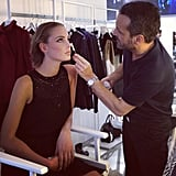 Our model Ginerva gets her makeup done by one of the Sisley Cosmetics Paris makeup artists.