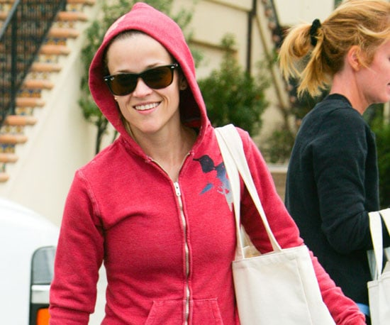 Slide Photo of Reese Witherspoon Leaving Gym in Red Hoodie