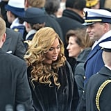 Beyonce Knowles rocked long, beautiful blonde waves for her inaugural performance Monday.