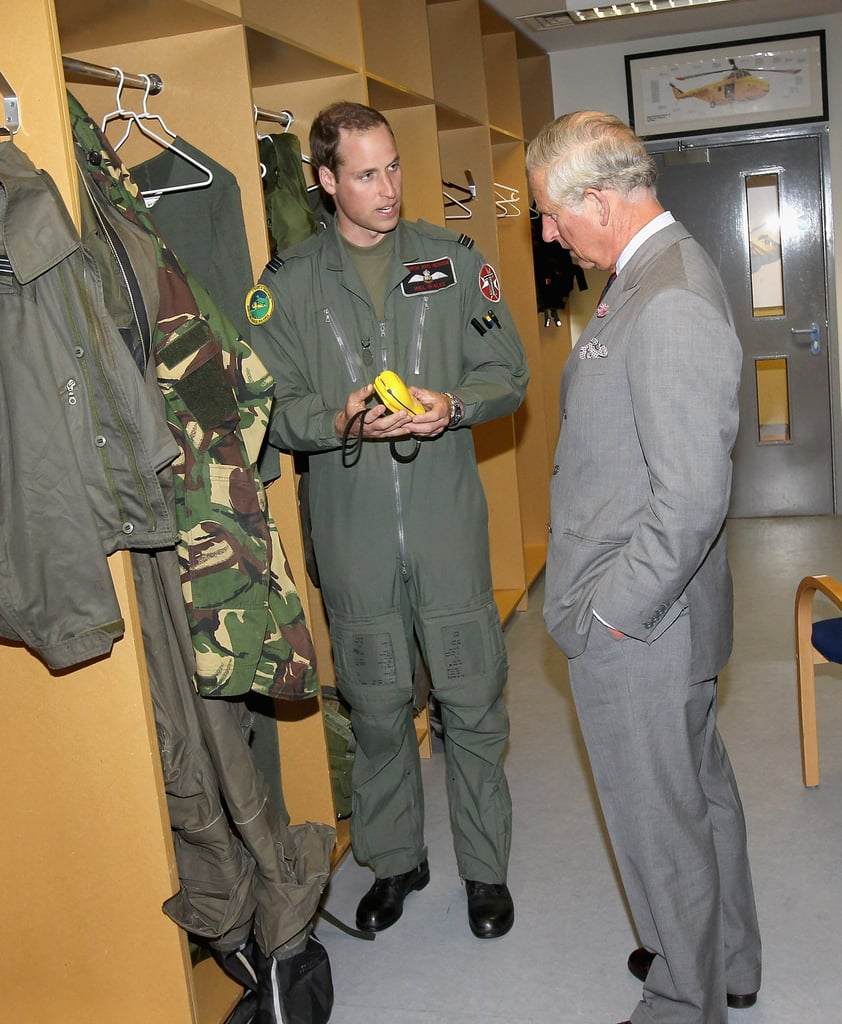 Prince William spoke to his dad, Prince Charles during a visit to RAF Valley on July 9.