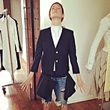 Taylor Tomasi-Hill had a spiritual experience while trying on some Thom Browne pieces. Source: Instagram user ttomasihill