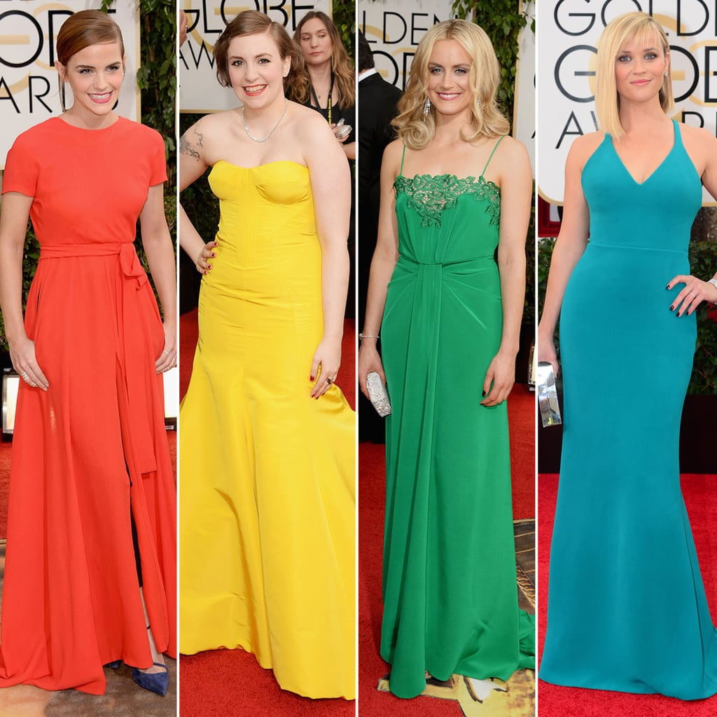 A Rainbow Of Dresses at the Golden Globes