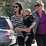 January Jones, baby Xander, and her mother, Karen, went out to eat in LA.