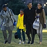 The whole family walked across the South Lawn of the White House in January 2012 after returning from their 10-day vacation in Hawaii.