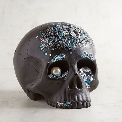 Bejeweled Black Resin Skull