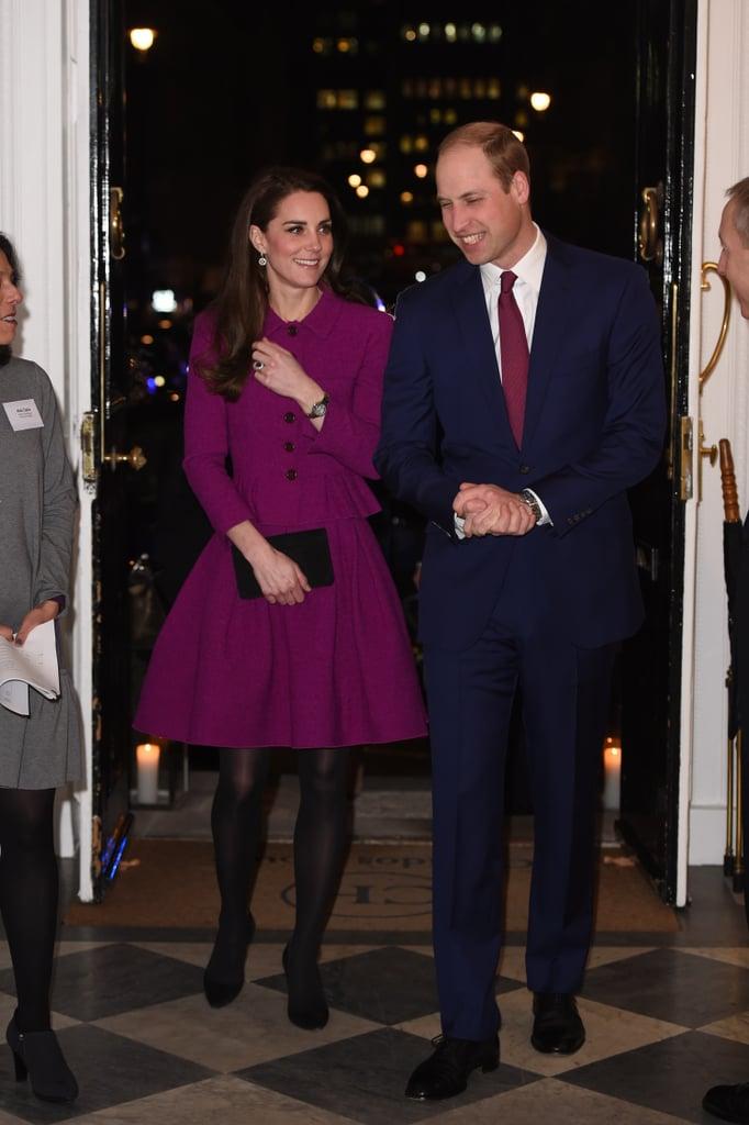Duchess of Cambridge Wearing Purple Oscar de la Renta Feb 17