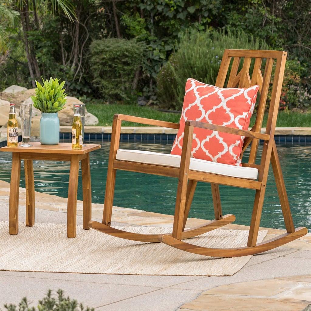 Nuna Acacia Wood Patio Rocking Chair Set