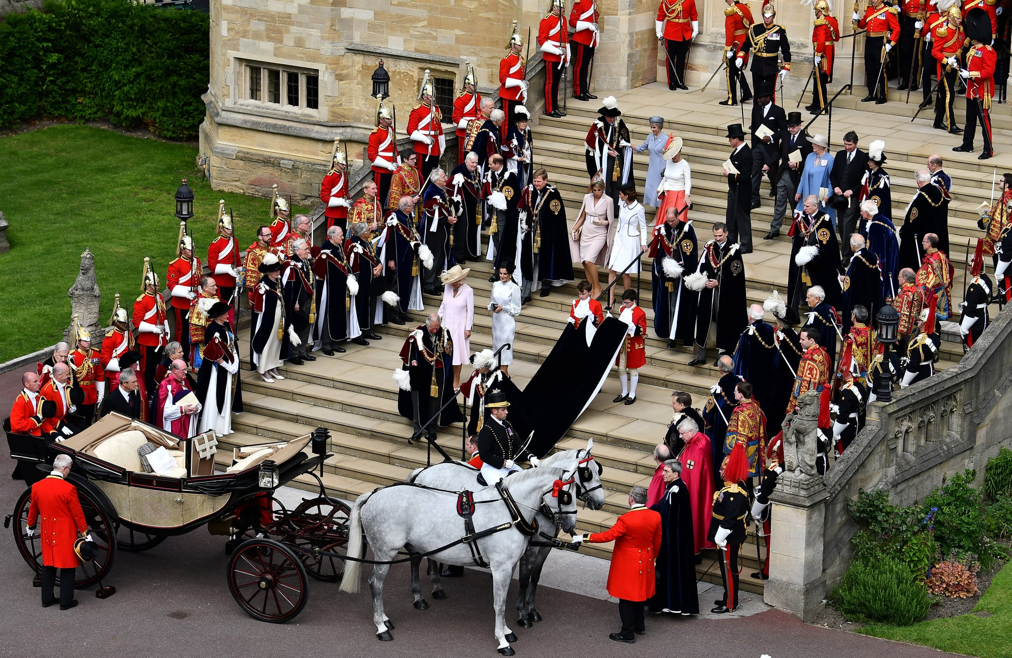 WINDSOR, ENGLAND - JUNE 17: King Willem-Alexander of the Netherlands, Queen Maxima of the Netherlands, King Felipe VI of Spain and Queen Letizia of Spain and Queen Elizabeth II leave the Order of the Garter Service on June 17, 2019 in Windsor, England. The Order of the Garter is the senior and oldest British Order of Chivalry, founded by Edward III in 1348. The Garter ceremonial dates from 1948, when formal installation was revived by King George VI for the first time since 1805. (Photo by Ben Stansall - WPA Pool/Getty Images)