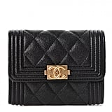 Chanel Caviar Quilted Boy Flap Card Holder
