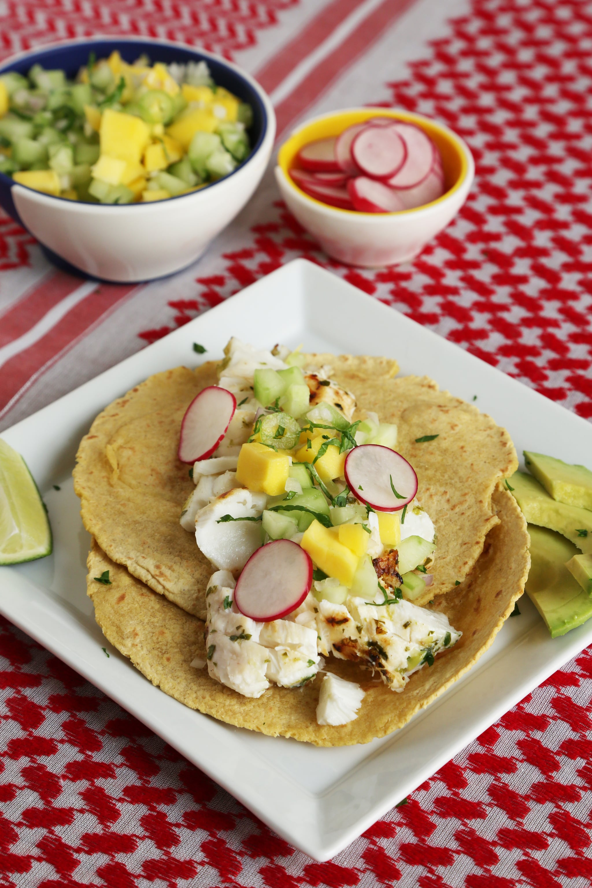 Grilled fish tacos recipe popsugar food for Simple fish taco recipe