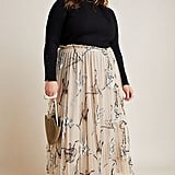 Georgette Pleated Tulle Maxi Skirt