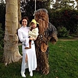 Alyssa Milano and Her Family as Princess Leia, Chewbacca, and Yoda