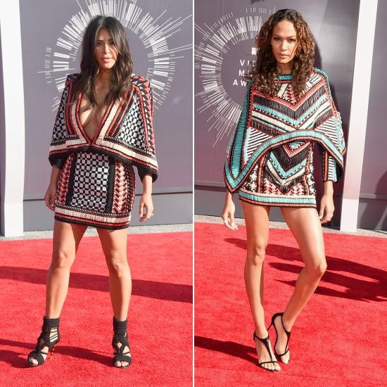 Kim Kardashian and Joan Smalls in Balmain at VMAs 2014