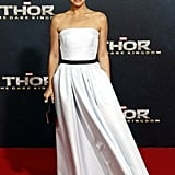 Opting once again for Dior, Natalie selected a Haute Couture white organza evening dress and the label's diamond and white gold fine jewelry for the Berlin Thor: The Dark World red carpet.