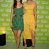 Wearing a yellow belted dress to the CW TCA Party in 2007.