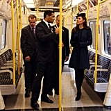 Kate Middleton inspected a tube car during a royal visit.