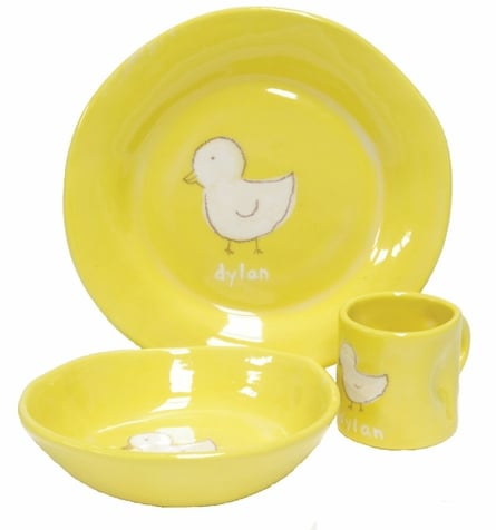 Ducky Yellow Personalized Ceramic Dish Set
