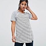 Asos Stripe Body Raglan T-Shirt with Zip Detail