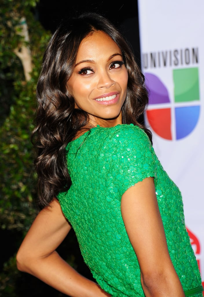 Zoe Saldana worked some poses on the red carpet.