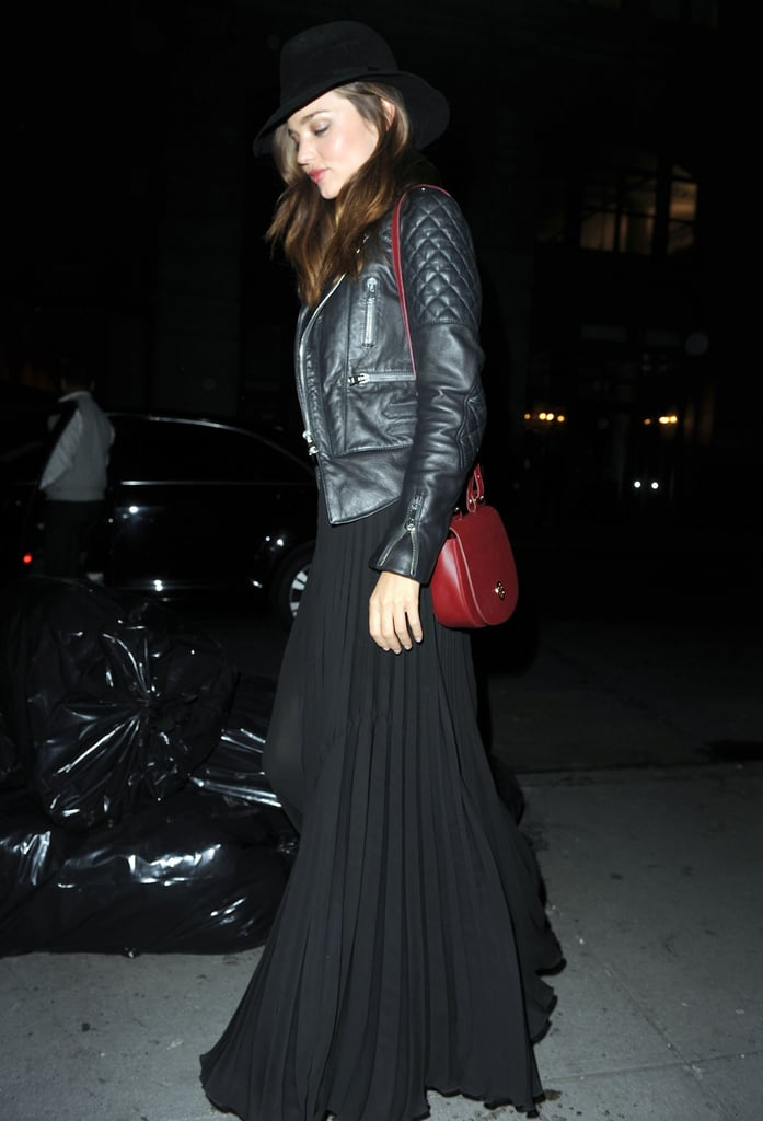 We love the way Miranda winterizes her maxi — a quilted leather jacket and fedora give it that seasonal cool factor.