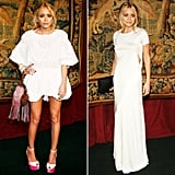 Twinning combo: The girls made a serious case for the little white dress and long white gown at a November 2007 dinner.  Mary-Kate nailed the beach-babe look in a short white Giambattista Valli design, which she paired with neon-detailed platforms and a colorful wristlet. Ashley took the long approach in a sleek cutout Calvin Klein gown and minimal accessories.