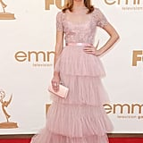 Glee's Jayma Mays looks pretty in pink.