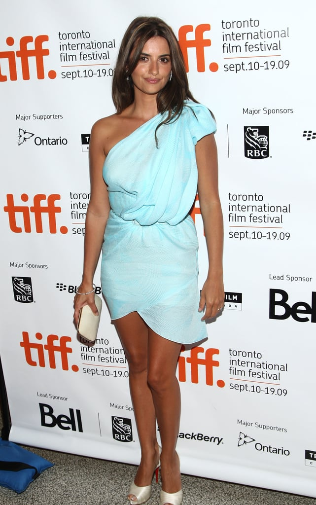 A tan and toned Penélope wore a sexy blue minidress at the Toronto International Film Festival in September 2009.