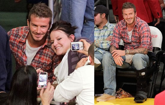 Pictures of David Beckham at a Lakers Game With George Lopez