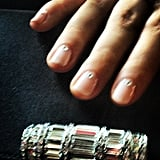Sarah Hyland showed off her feminine manicure pre-SAG Awards: a blushy pink adorned with a teeny spot of sparkle. Source: Instagram user therealsarahhyland