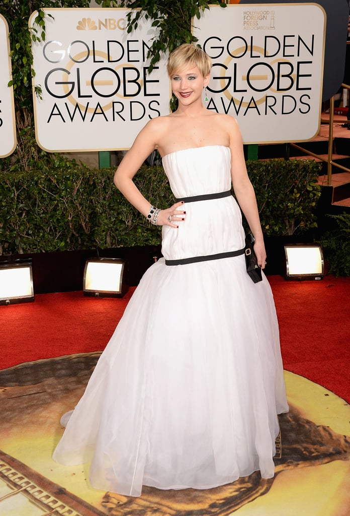 She debuted this frothy black and white confection at the Golden Globes.