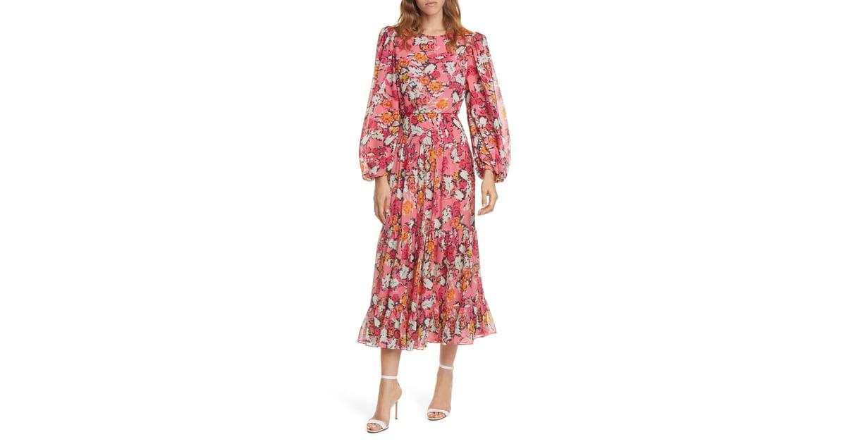 Saloni Isabel Floral Long Sleeve Silk Maxi Dress