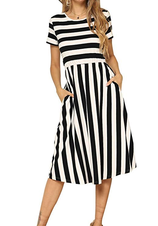 levaca Women's Casual Short Sleeve Striped Swing Midi Dress with Pockets