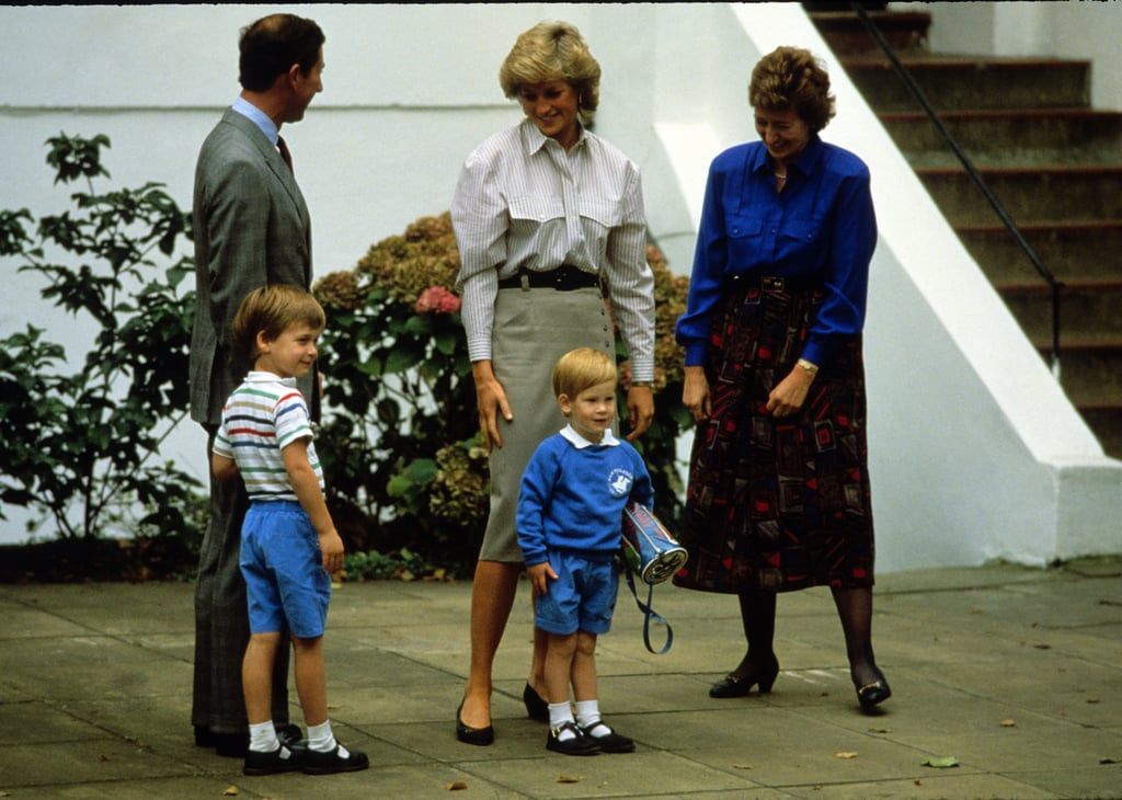 Prince Harry arrived to attend his first day at nursery school with Charles, Prince of Wales; Diana, Princess of Wales; and his brother, Prince William, on Sept. 16, 1987, in London.