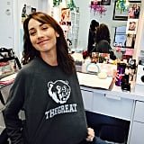 Bree Turner showed off her new sweatshirt on the set of Grimm.