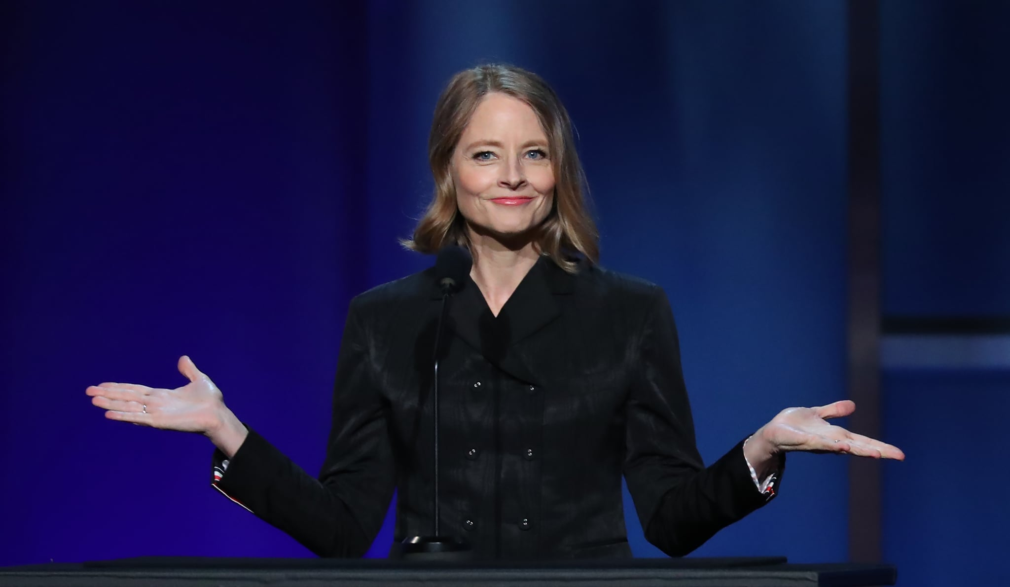 US actress Jodie Foster speaks on stage during the 47th American Film Institute (AFI) Life Achievement Award Gala at the Dolby theatre in Hollywood on June 6, 2019. (Photo by Jean-Baptiste LACROIX / AFP)        (Photo credit should read JEAN-BAPTISTE LACROIX/AFP via Getty Images)