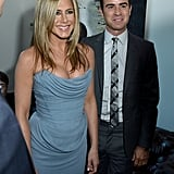 Jennifer Aniston had her fiancé, Justin Theroux, by her side in Toronto.