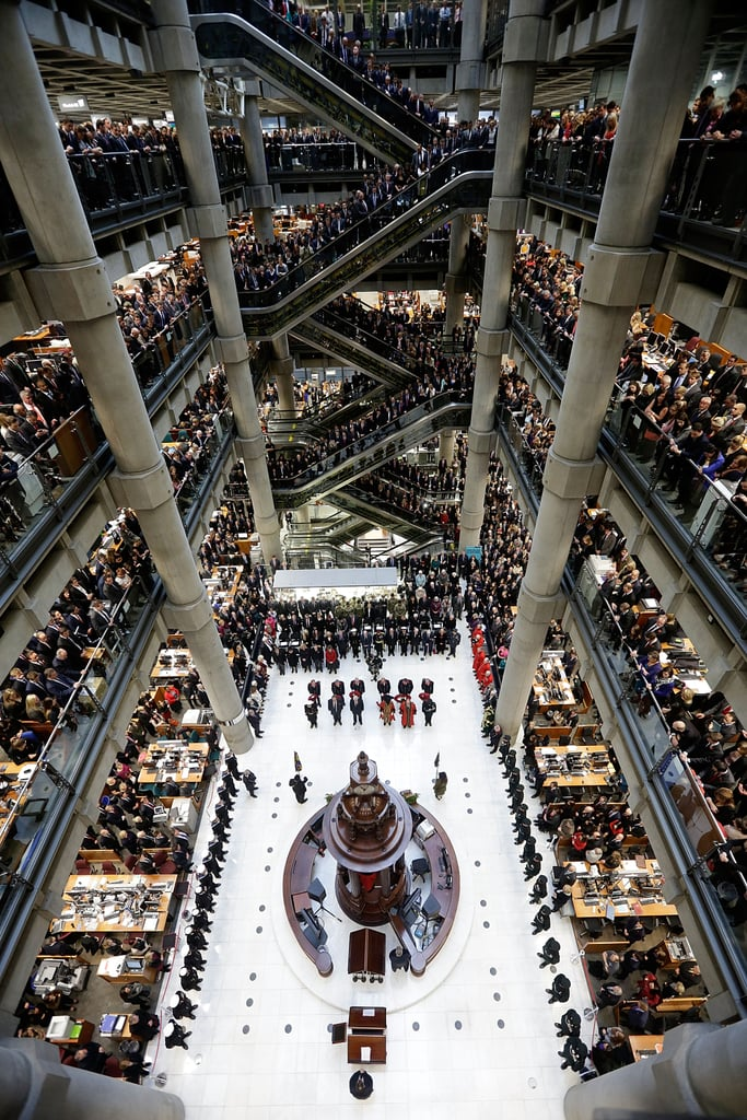 Brokers at the Lloyd's of London building held a moment of silence during the annual Armistice Day service.