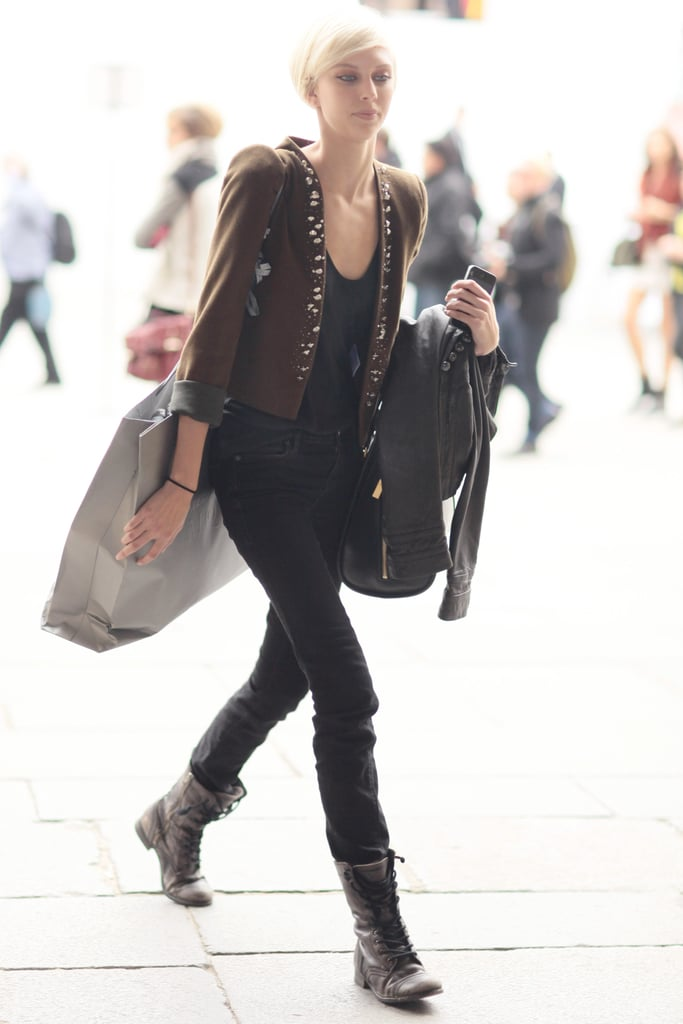 An embellished jacket gave this all-black look a bit more statement power.