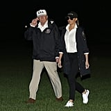 Melania wore her aviators in the night yet again, on the trek back to the White House from Texas in August 2017. She was wearing functional Adidas Stan Smith sneakers, too.