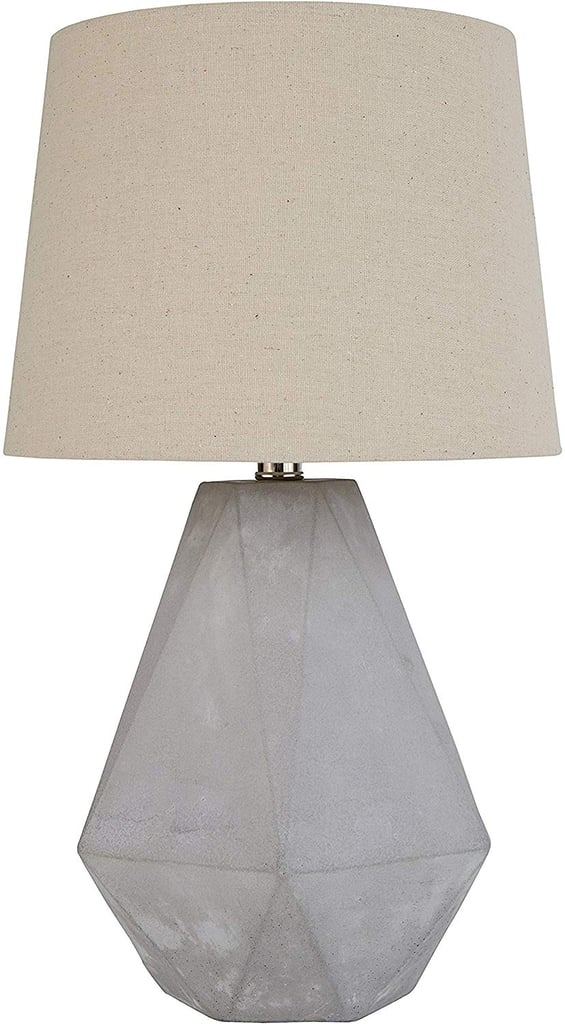 Rivet Mid Century Modern Diamond Cut Concrete Bedside Table Desk Lamp