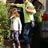 Jessica Alba and her daughter Honor visited a friend's house together in LA on Monday.