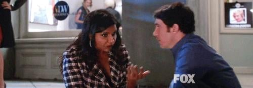 We know you're just pretending to be weirded out by this kiss, Mindy.