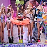 The Victoria's Secret Angels gathered on the runway at the 2011 Victoria's Secret Fashion Show.