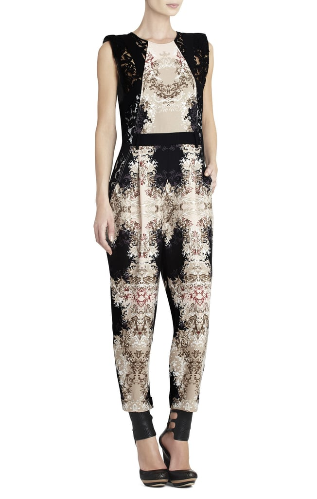 "While I fully embrace a ""happily ever after"" tale, I'm a bit skeptic of love at first sight, with the exception of this lace BCBGMAXAZRIA jumpsuit ($498). The simple silhouette balances the regal print and feminine lace trim so beautifully, it could sway the most adamant of jumpsuit naysayers. Style it with a pair of gladiators now, then booties and a leather jacket later. — MV"