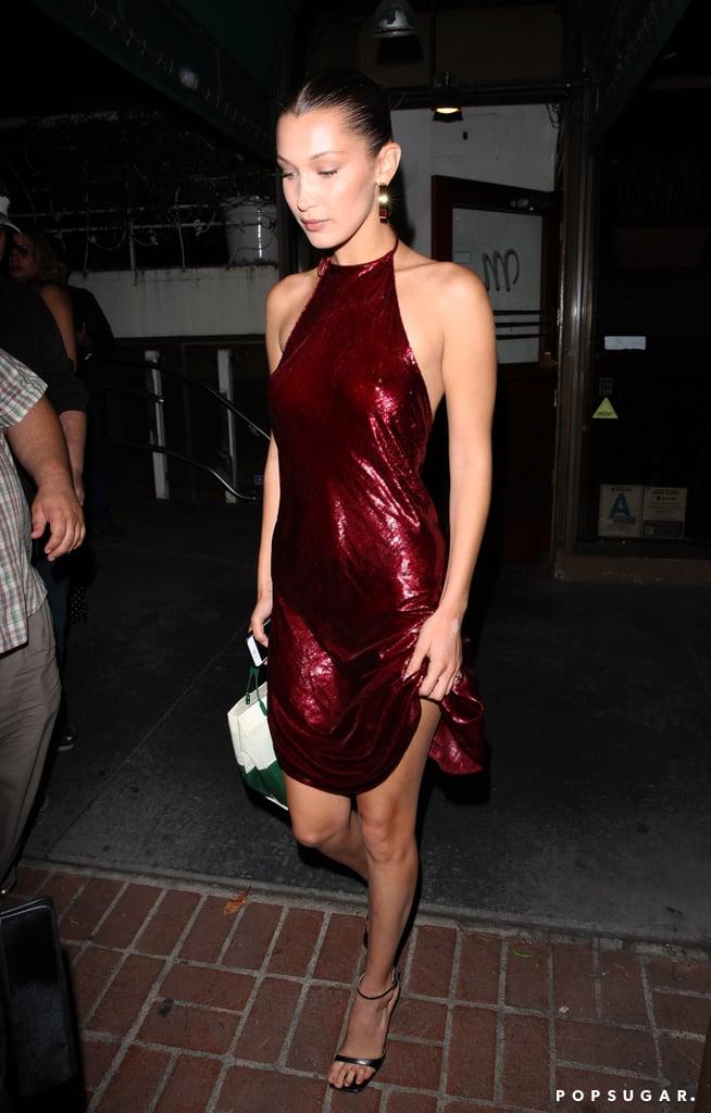 Bella Hadid Red Sequin Dress Popsugar Fashion