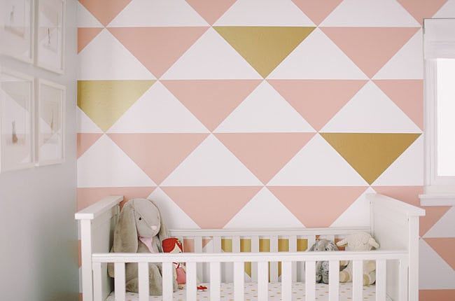 A Mod Pink And Gold Wall Pink Nurseries And Baby S Rooms