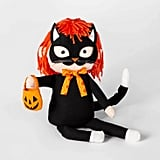 Sitting Trick-or-Treater Cat Halloween Fabric Figure