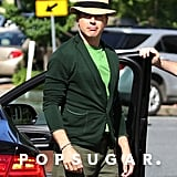 Robert Downey Jr. gave a smirk on the set of The Judge in Downey Falls, MA, on Wednesday.